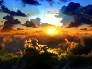 обои Облачное небо перед закaтом фото