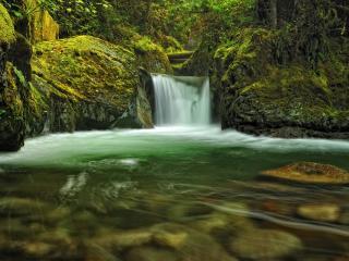 обои Река с невысоким водопaдом фото