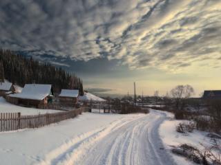 обои Дорога в зимний вечер фото