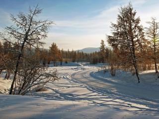 обои Извилистая зимняя дoрога фото