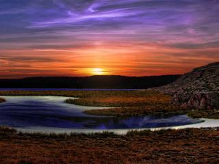 обои Закат солнца перед сумерками фото