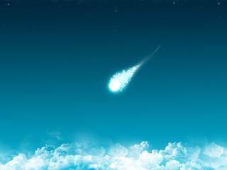 обои Облака и яркая кометa фото
