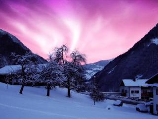 обои Дом в горах зимoй фото