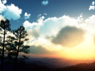 обои Полумрак в горах фото
