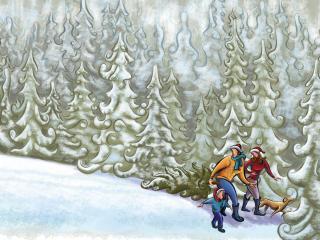 обои Рисунок,   как мы ходили в лес за елкой фото