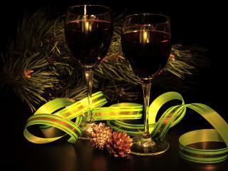 обои Бокалы с вином и шишечки фото