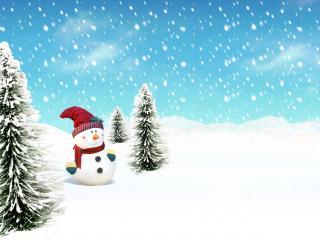 обои Снеговик между елками фото