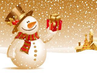 обои Снеговик с подарком фото