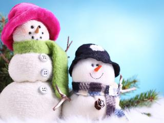 обои Снеговики он и она фото