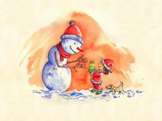 обои Снеговику подарок фото