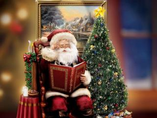 обои Санта у елки сказки читает фото