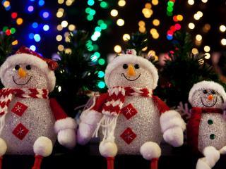обои Семья снеговиков фото