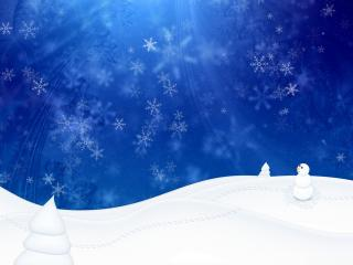 обои Снеговичок и елки заснеженные на холмах фото