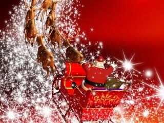 обои Волшебный Санта на оленях фото