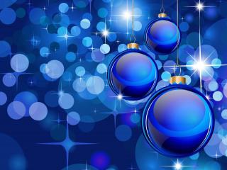 обои Блики и шары на синем фоне фото