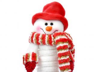 обои В красной шляпе снеговик фото