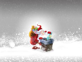 обои Дед Мороз бросает подарки в дымоход фото