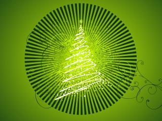 обои Елка спиралька в зеленом оформлении фото