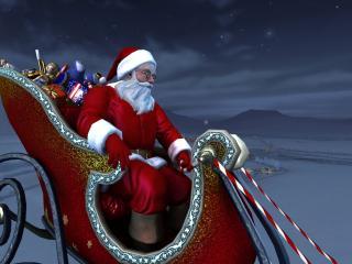 обои Санта с подарками на санях фото