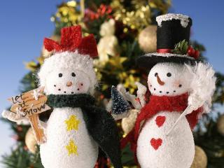 обои Снеговички парой фото
