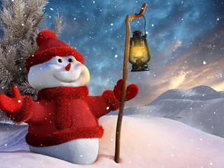 обои Снеговичок в красном фото