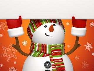 обои Снеговичок держит жалюзи фото