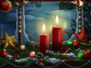 обои Две свечи на фоне окна фото