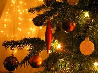 обои Игрушки на новогодней елке фото