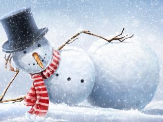 обои Лежачий снеговичок фото