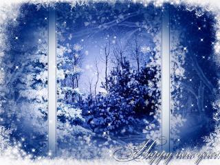 обои Мороз на окне в новый год фото