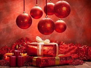 обои Новогодние атрибуты в красных тонах фото