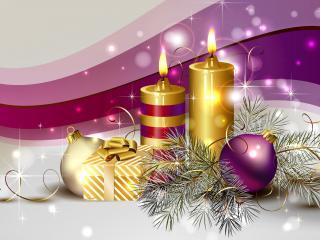 обои Новогодние свечи и игрушки фото