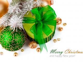 обои Новогодние украшения подарок и надпись фото