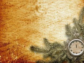 обои Новогодние часы и ветка фото