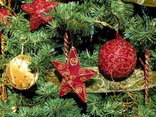 обои Звездочки и шары на елке фото
