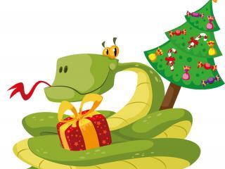 обои Рисунок змеи с подарком и елкой фото