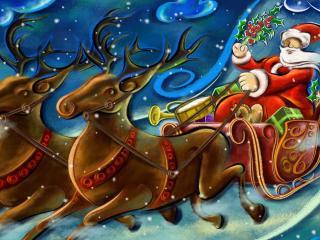 обои Санта мчится на оленях фото