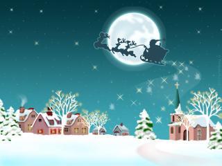 обои Санта на оленей упряжке на фоне луны фото