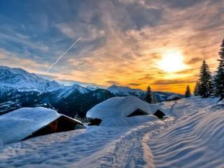 обои Зимнее,   горное небо фото