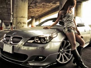 обои Девушка и BMW фото