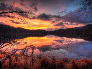 обои Краски заката над озером фото