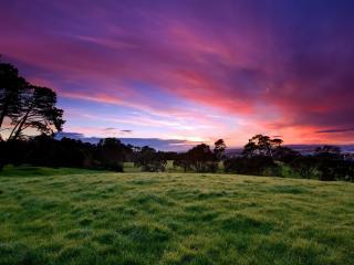 обои Краснофиолетовое небо над равниной фото