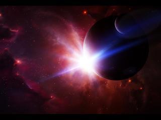 обои Яркий свет у планеты в холодном космосе фото