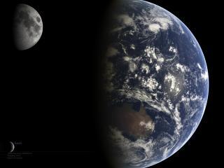 обои Земля и луна в космосе фото