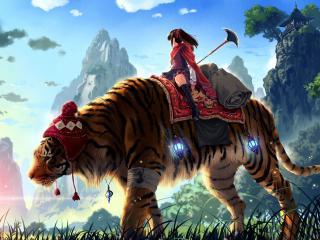 обои Девочка верхом на тигре в шапке фото