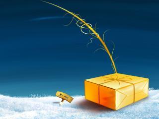 обои К рождеству подарок в снегу фото