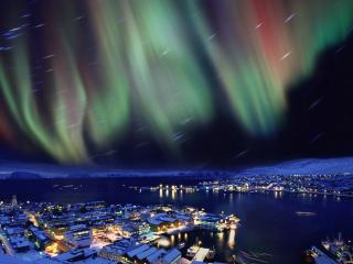 обои Абстрактное небо над ночным городом фото