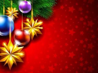 обои Рождественские звезды и круглые игрушки фото