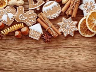 обои Рождественские пряники,   орехи и лимон фото