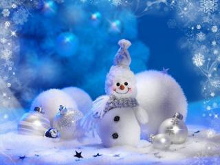 обои Новогодний снеговичок фото